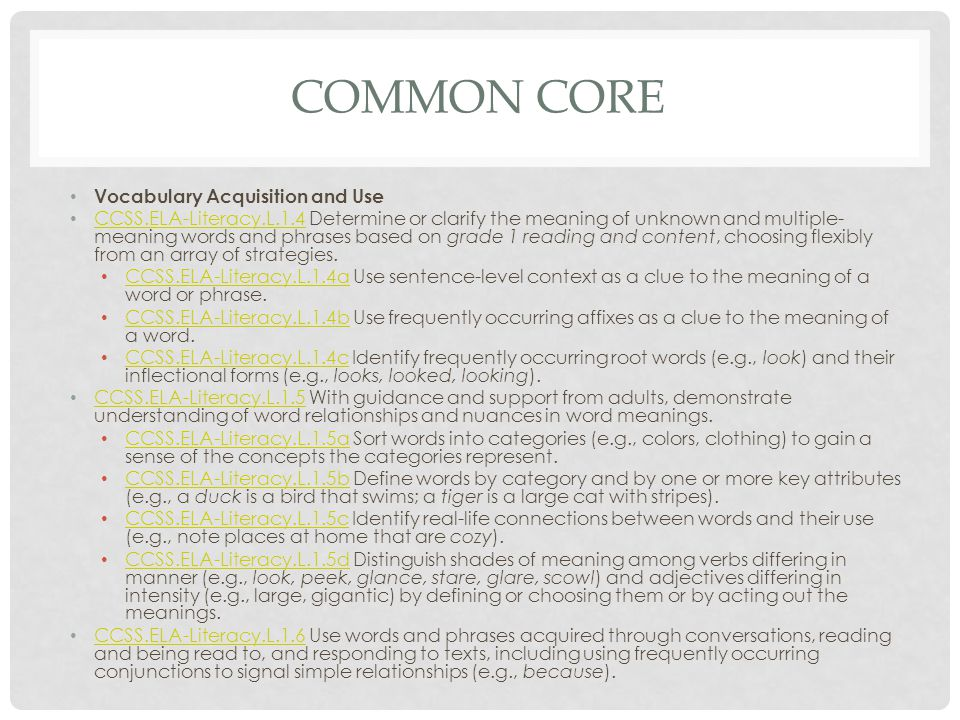 COMMON CORE Vocabulary Acquisition and Use CCSS.ELA-Literacy.L.1.4 Determine or clarify the meaning of unknown and multiple- meaning words and phrases based on grade 1 reading and content, choosing flexibly from an array of strategies.