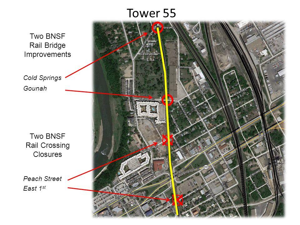 Two BNSF Rail Crossing Closures Tower 55 Peach Street East 1 st Two BNSF Rail Bridge Improvements Cold Springs Gounah 5
