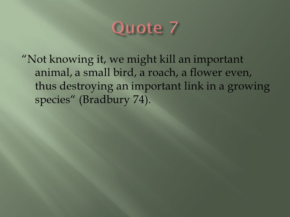 """""""Not knowing it, we might kill an important animal, a small bird, a roach, a flower even, thus destroying an important link in a growing species"""" (Bra"""