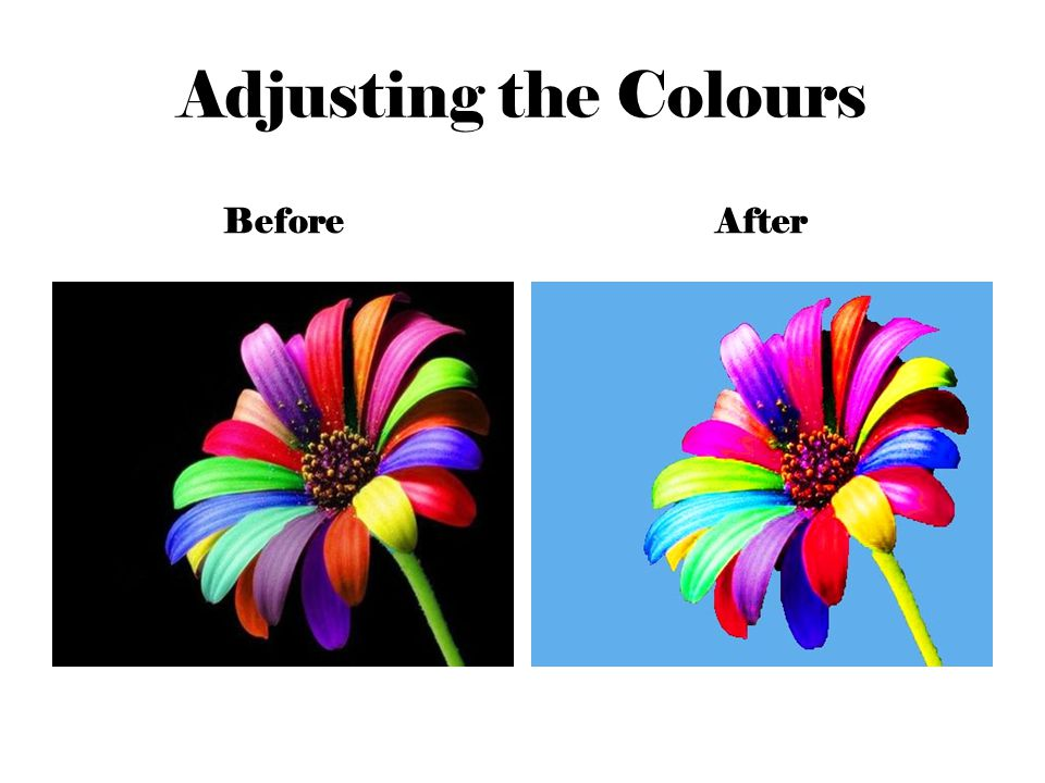 Adjusting the Colours BeforeAfter