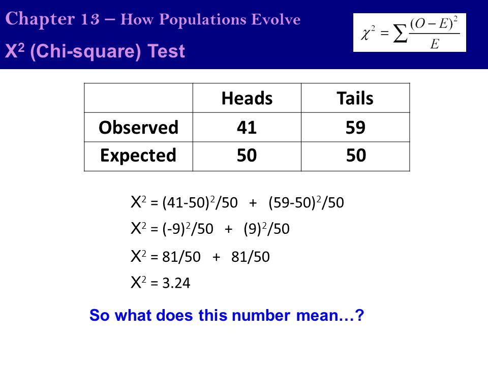 Χ 2 (Chi-square) Test Chapter 13 – How Populations Evolve Example 2 Answer Expected ratioObserved #Expected #O-E(O-E) 2 (O-E) 2 /E 4 stripes50446360.82 3 spots41338641.94 9 stripes/spots8599-141961.98 16 total176 total 0 total Sum(X 2 ) = 4.74 DOF = #groups – 1 = 3 – 1 = 2 P = ~0.18 or 18% Therefore, there is a 18% chance that the null hypothesis is supported (that there is no difference between the groups) and therefore, according to this data, the null can be accepted and the observed is not significantly different than the expected.
