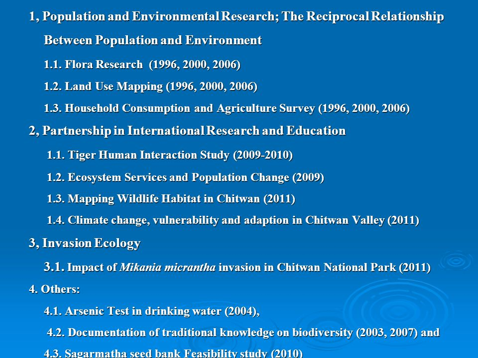 1, Population and Environmental Research; The Reciprocal Relationship Between Population and Environment 1.1.