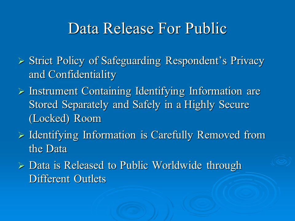 Data Release For Public  Strict Policy of Safeguarding Respondent's Privacy and Confidentiality  Instrument Containing Identifying Information are Stored Separately and Safely in a Highly Secure (Locked) Room  Identifying Information is Carefully Removed from the Data  Data is Released to Public Worldwide through Different Outlets