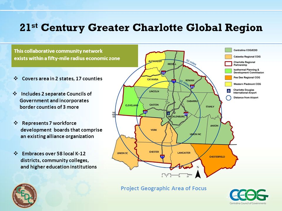 21 st Century Greater Charlotte Global Region  Covers area in 2 states, 17 counties  Includes 2 separate Councils of Government and incorporates bor