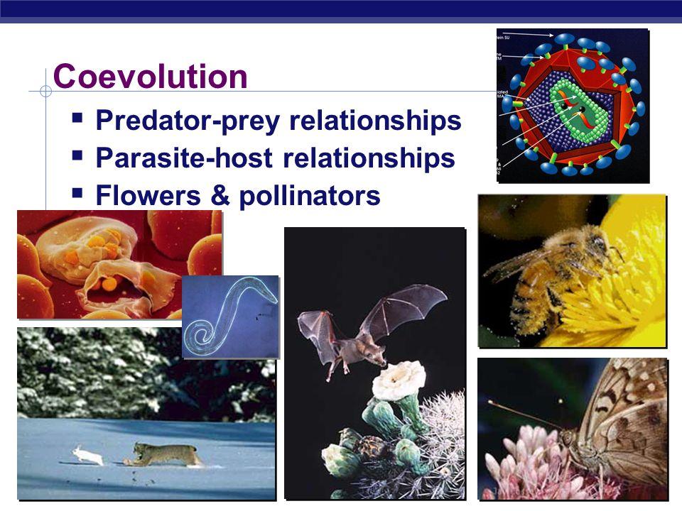 AP Biology Coevolution  Predator-prey relationships  Parasite-host relationships  Flowers & pollinators