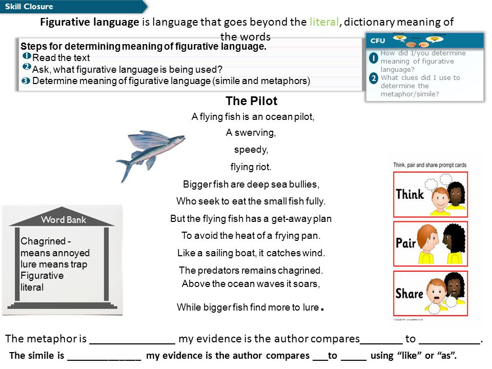 Skill Closure How did I/you determine meaning of figurative language? What clues did I use to determine the metaphor/simile? CFU 1 2 The metaphor is _