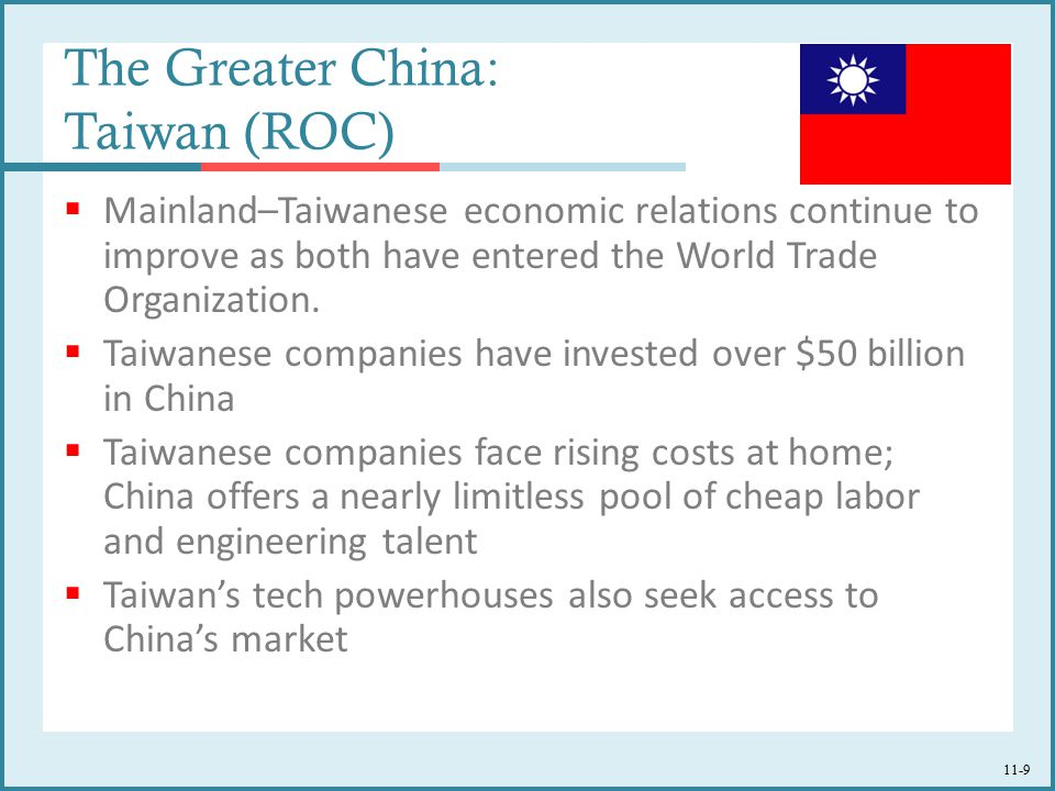 11-9 The Greater China: Taiwan (ROC)  Mainland–Taiwanese economic relations continue to improve as both have entered the World Trade Organization. 