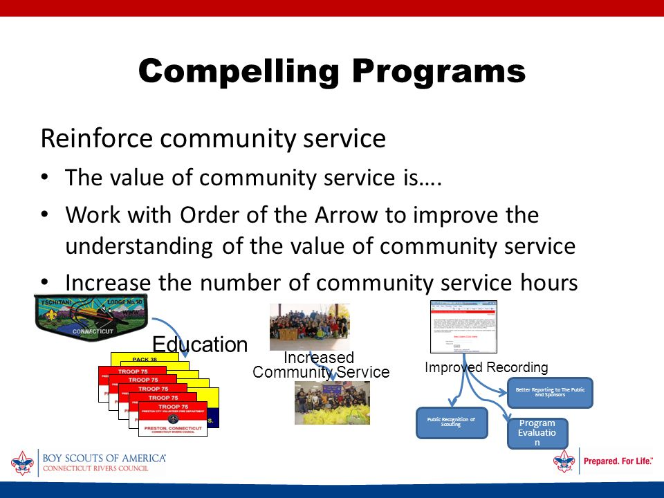 Compelling Programs Reinforce community service The value of community service is….