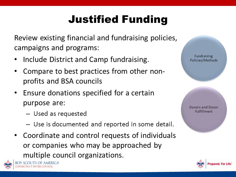 Justified Funding Review existing financial and fundraising policies, campaigns and programs: Include District and Camp fundraising.