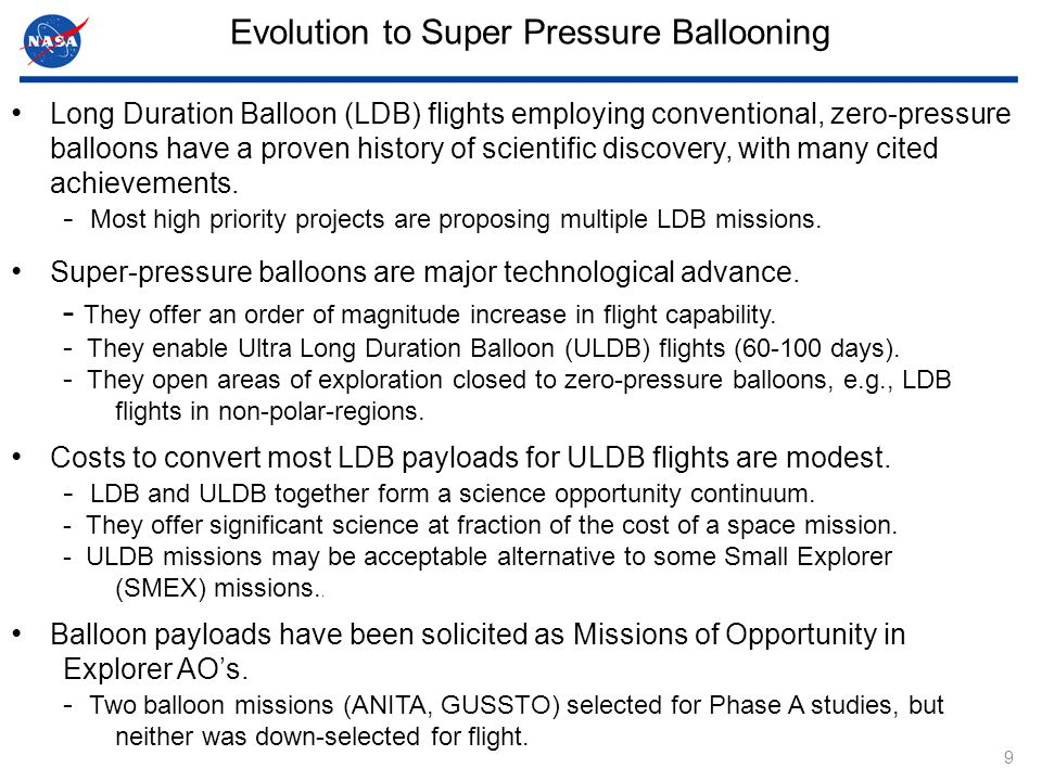 9 Long Duration Balloon (LDB) flights employing conventional, zero-pressure balloons have a proven history of scientific discovery, with many cited achievements.