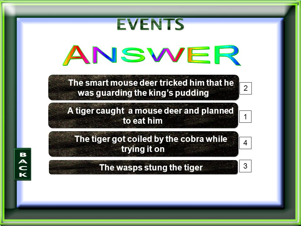 4 3 1 2 The wasps stung the tiger The smart mouse deer tricked him that he was guarding the king's pudding A tiger caught a mouse deer and planned to eat him The tiger got coiled by the cobra while trying it on
