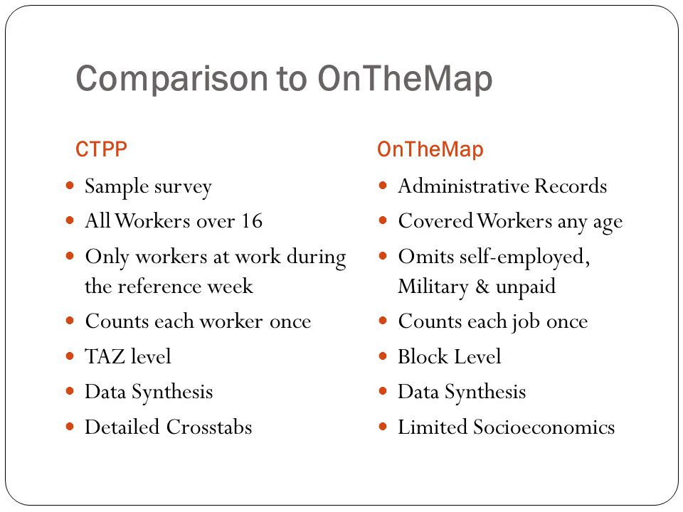 Comparison to OnTheMap CTPPOnTheMap Sample survey All Workers over 16 Only workers at work during the reference week Counts each worker once TAZ level Data Synthesis Detailed Crosstabs Administrative Records Covered Workers any age Omits self-employed, Military & unpaid Counts each job once Block Level Data Synthesis Limited Socioeconomics