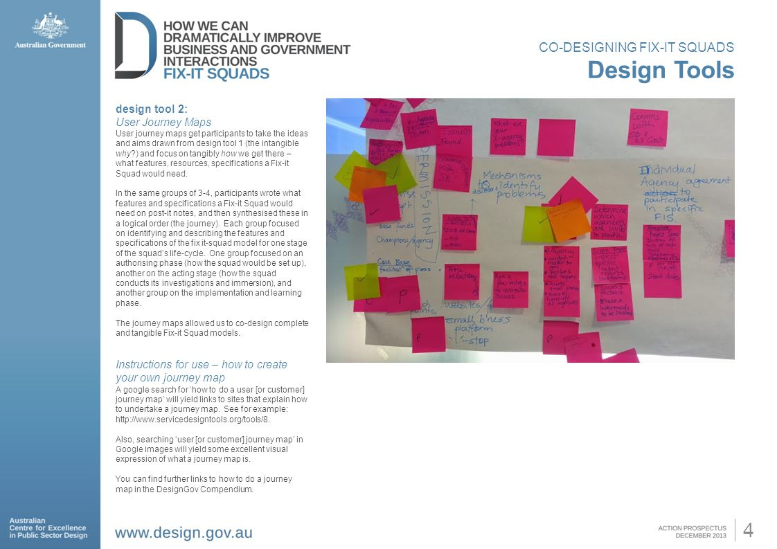 4 CO-DESIGNING FIX-IT SQUADS Design Tools design tool 2: User Journey Maps User journey maps get participants to take the ideas and aims drawn from design tool 1 (the intangible why ) and focus on tangibly how we get there – what features, resources, specifications a Fix-it Squad would need.
