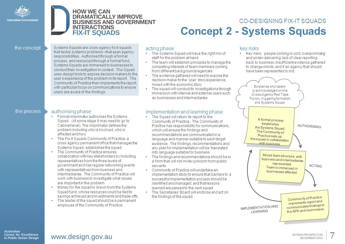 7 CO-DESIGNING FIX-IT SQUADS Concept 2 - Systems Squads Systems Squads are cross-agency fix it squads that tackle systemic problems –that span agency responsibilities.