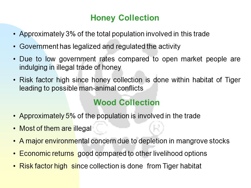 Approximately 3% of the total population involved in this trade Government has legalized and regulated the activity Due to low government rates compared to open market people are indulging in illegal trade of honey Risk factor high since honey collection is done within habitat of Tiger leading to possible man-animal conflicts Wood Collection Approximately 5% of the population is involved in the trade Most of them are illegal A major environmental concern due to depletion in mangrove stocks Economic returns good compared to other livelihood options Risk factor high since collection is done from Tiger habitat Honey Collection