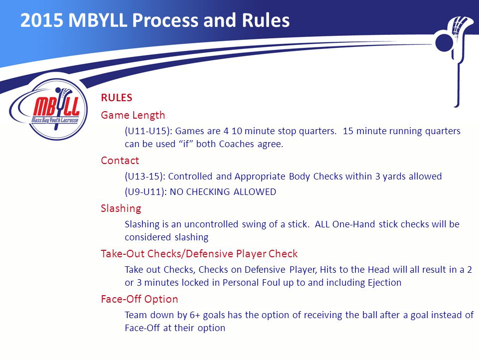 2015 MBYLL Process and Rules RULES Game Length (U11-U15): Games are 4 10 minute stop quarters.