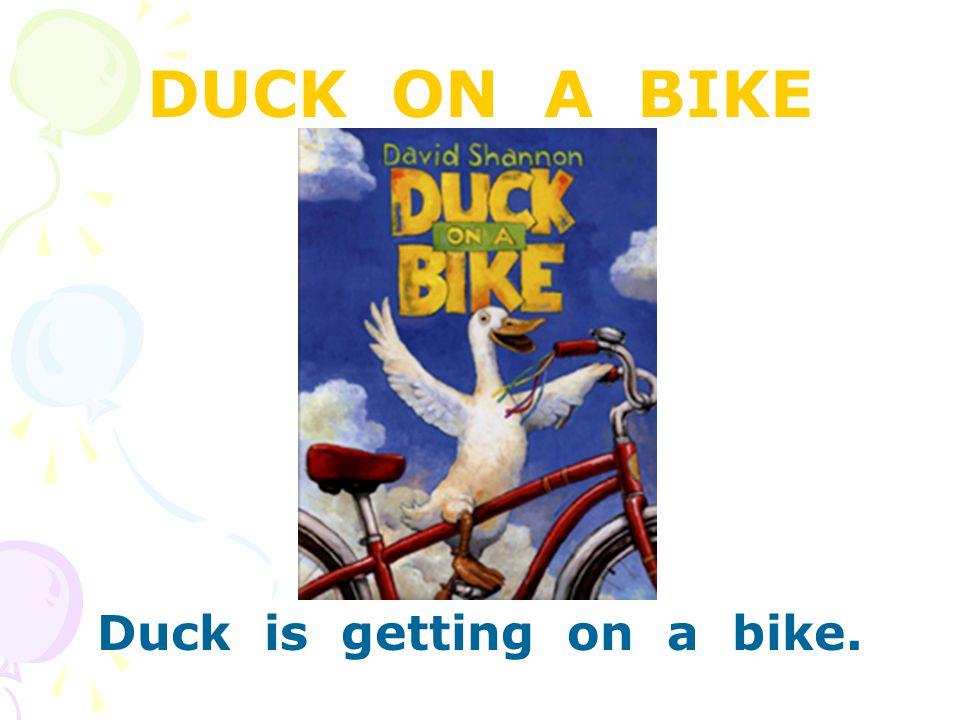 DUCK ON A BIKE Duck is getting on a bike.