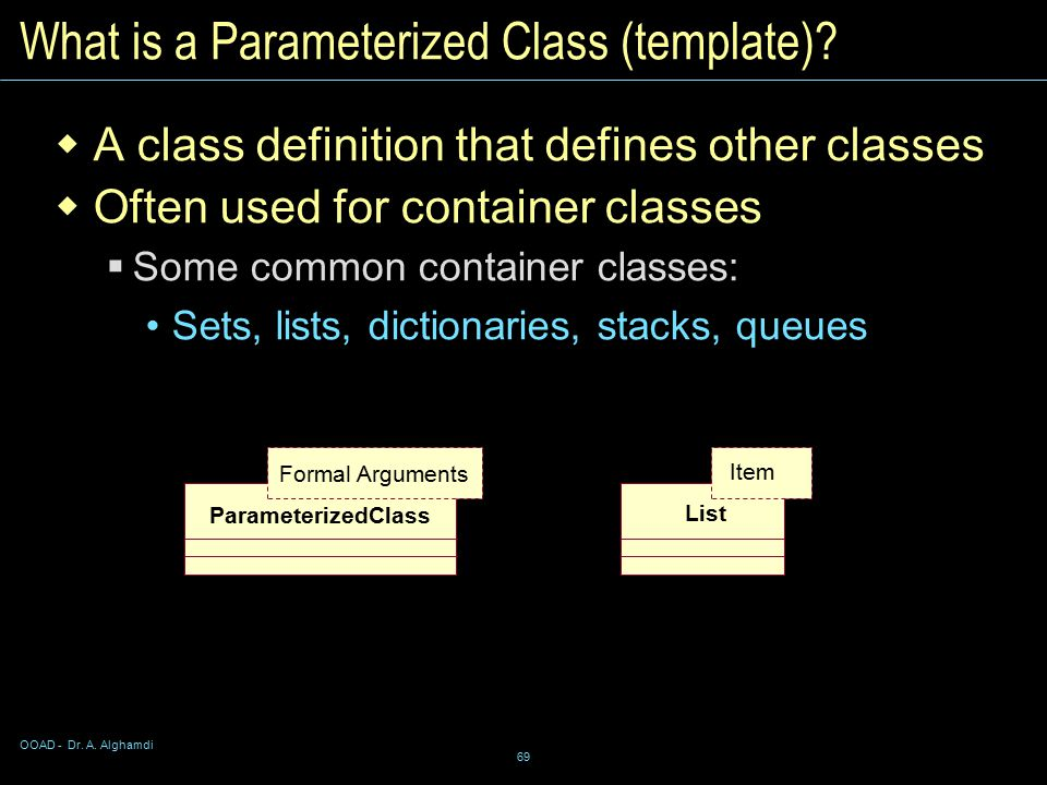 OOAD - Dr. A. Alghamdi 69 What is a Parameterized Class (template).