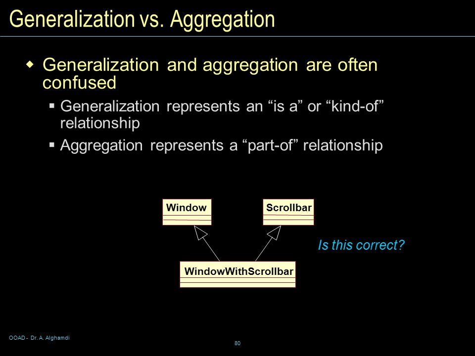 OOAD - Dr. A. Alghamdi 80 Is this correct. Generalization vs.