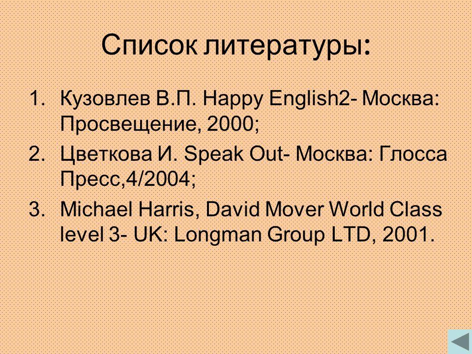 Список литературы : 1.Кузовлев В.П. Happy English2- Москва: Просвещение, 2000; 2.Цветкова И.