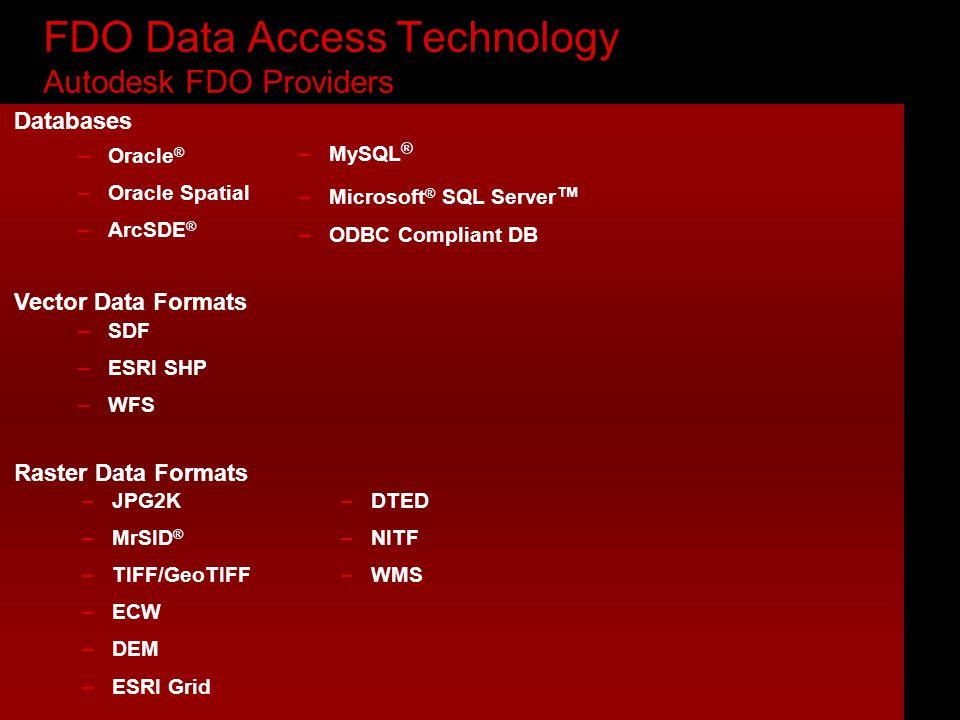 FDO Data Access Technology Autodesk FDO Providers –SDF –ESRI SHP –WFS Vector Data Formats –JPG2K –MrSID ® –TIFF/GeoTIFF –ECW –DEM –ESRI Grid –DTED –NITF –WMS Raster Data Formats Databases –Oracle ® –Oracle Spatial –ArcSDE ® –MySQL ® –Microsoft ® SQL Server ™ –ODBC Compliant DB
