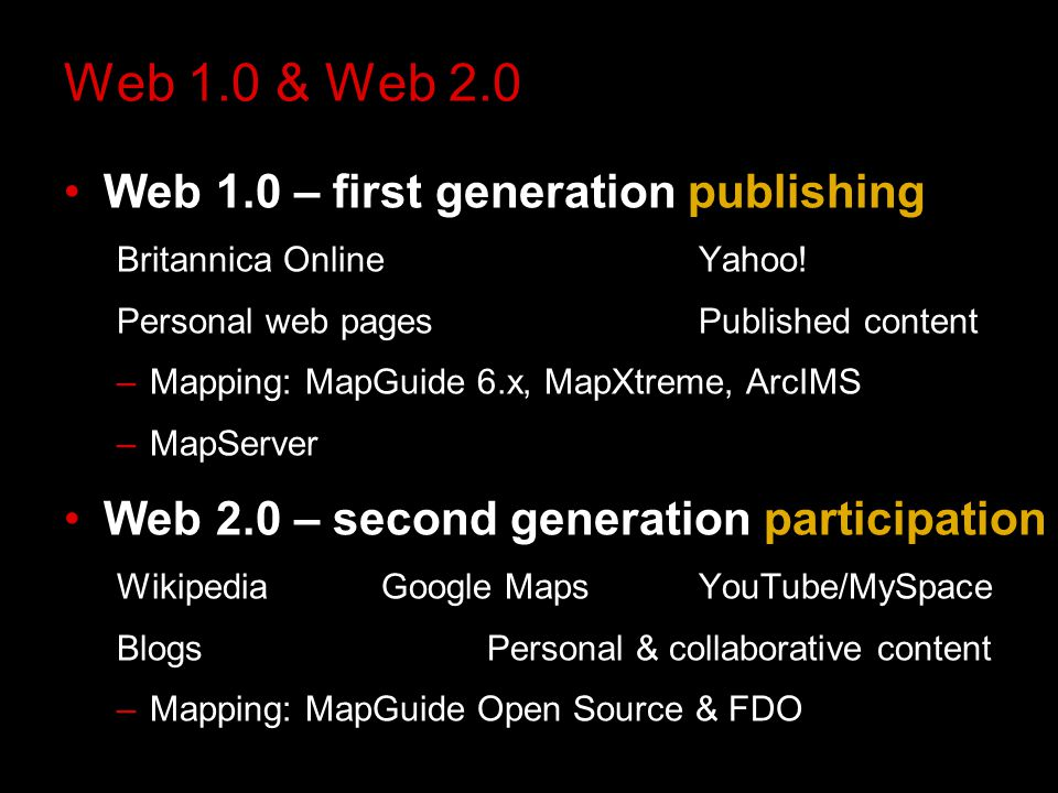 Web 1.0 & Web 2.0 Web 1.0 – first generation publishing Britannica OnlineYahoo.