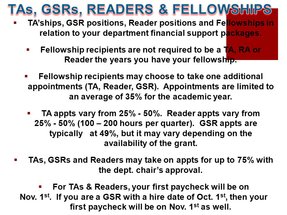  TA'ships, GSR positions, Reader positions and Fellowships in relation to your department financial support packages.  Fellowship recipients are not