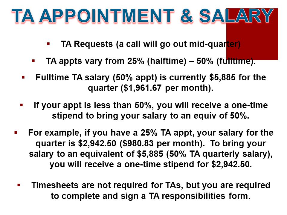  TA Requests (a call will go out mid-quarter)  TA appts vary from 25% (halftime) – 50% (fulltime).  Fulltime TA salary (50% appt) is currently $5,8