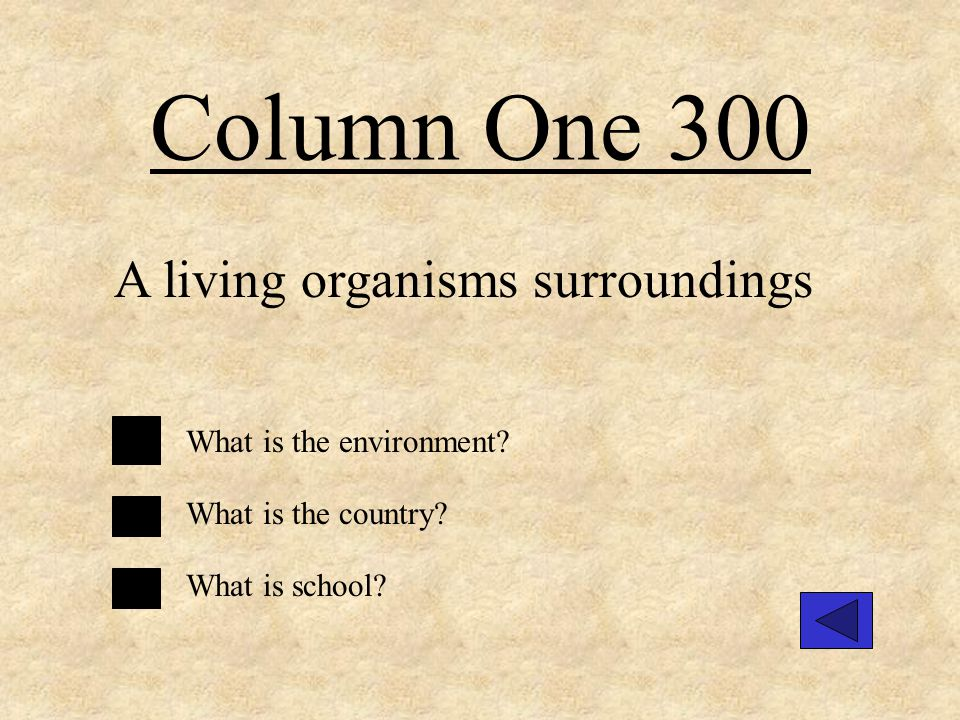 Column Three 400 A consumer What is a living organism that needs to eat other organisms to get energy.