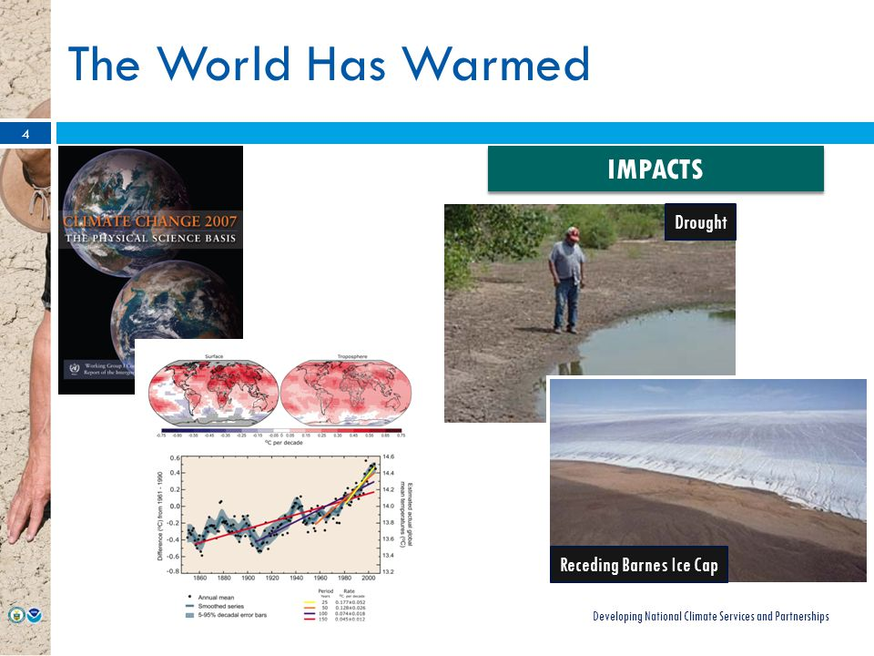 The World Has Warmed Developing National Climate Services and Partnerships 4 IMPACTS Drought Receding Barnes Ice Cap