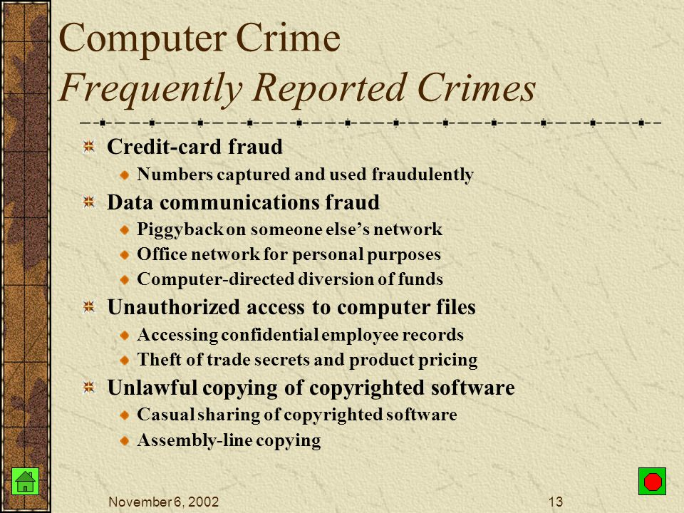 November 6, 200212 Computer Crime How Can Systems be Easily Compromised? Social engineering Con artist – persuade others to give away their passwords