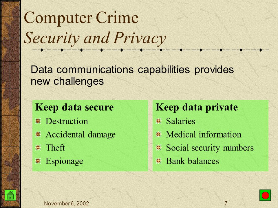 November 6, 20026 Computer Crime Employees and individuals need to recognize the possible danger from computer systems and protect their assets.