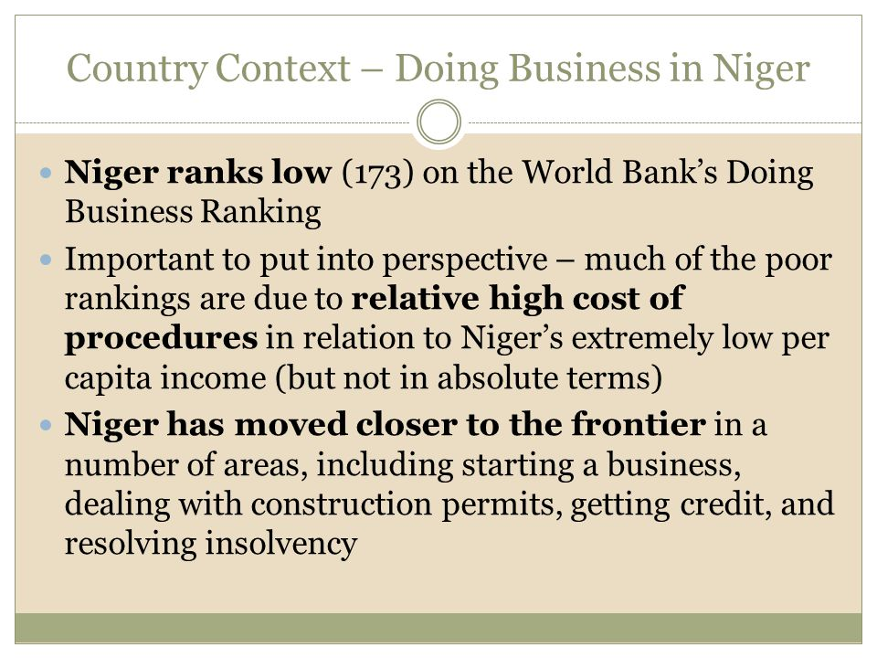 Niger ranks low (173) on the World Bank's Doing Business Ranking Important to put into perspective – much of the poor rankings are due to relative high cost of procedures in relation to Niger's extremely low per capita income (but not in absolute terms) Niger has moved closer to the frontier in a number of areas, including starting a business, dealing with construction permits, getting credit, and resolving insolvency