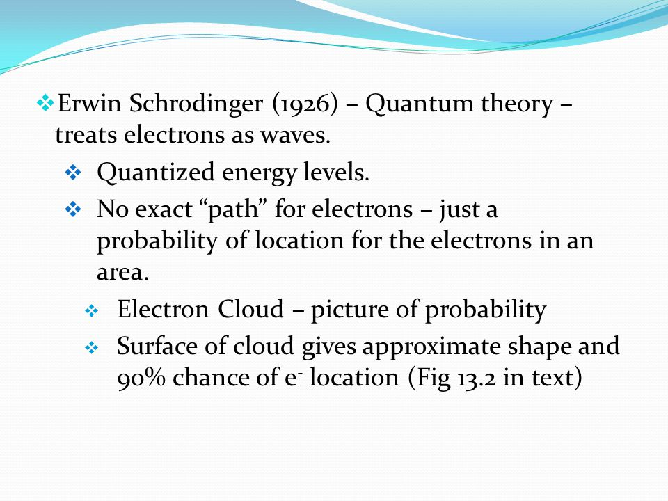  Erwin Schrodinger (1926) – Quantum theory – treats electrons as waves.