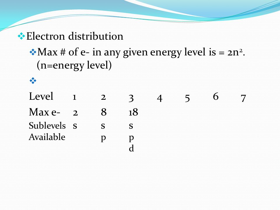  Electron distribution  Max # of e- in any given energy level is = 2n 2.