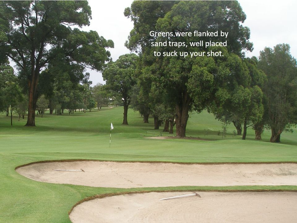 Greens were flanked by sand traps, well placed to suck up your shot.