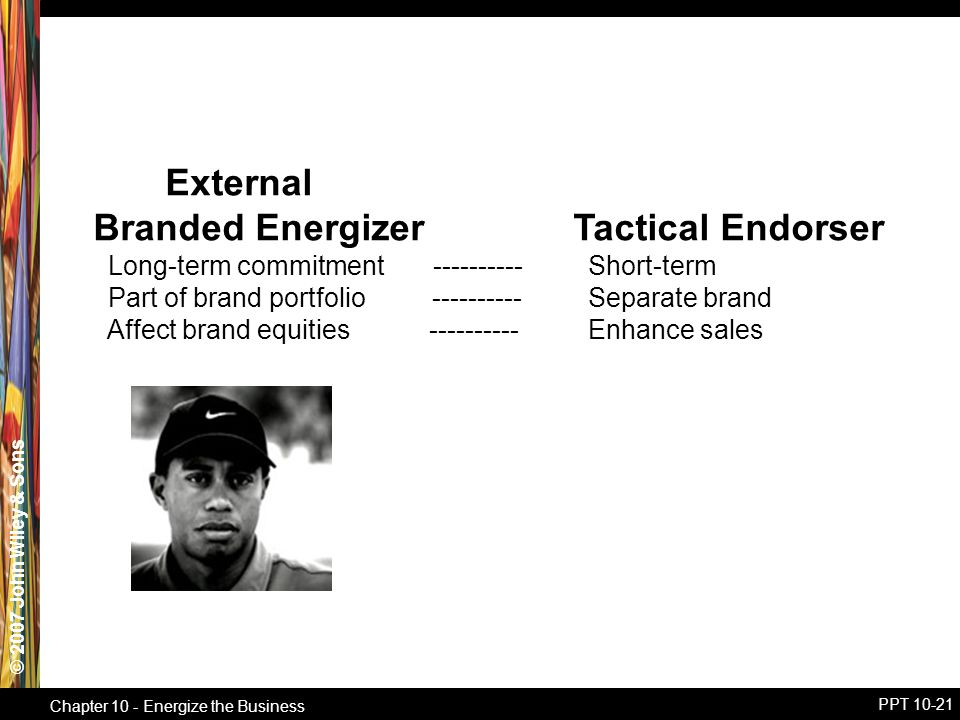 © 2007 John Wiley & Sons Chapter 10 - Energize the Business PPT 10-21 External Branded EnergizerTactical Endorser Long-term commitment ---------- Short-term Part of brand portfolio ---------- Separate brand Affect brand equities ---------- Enhance sales