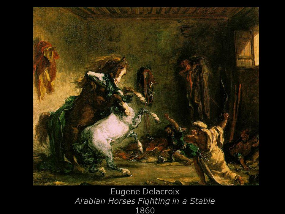 Eugene Delacroix Arabian Horses Fighting in a Stable 1860