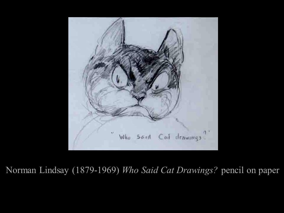 Norman Lindsay (1879-1969) Who Said Cat Drawings? pencil on paper