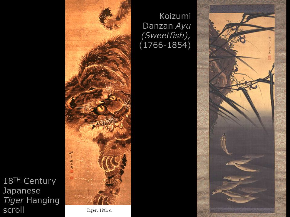 18 TH Century Japanese Tiger Hanging scroll Koizumi Danzan Ayu (Sweetfish), (1766-1854)