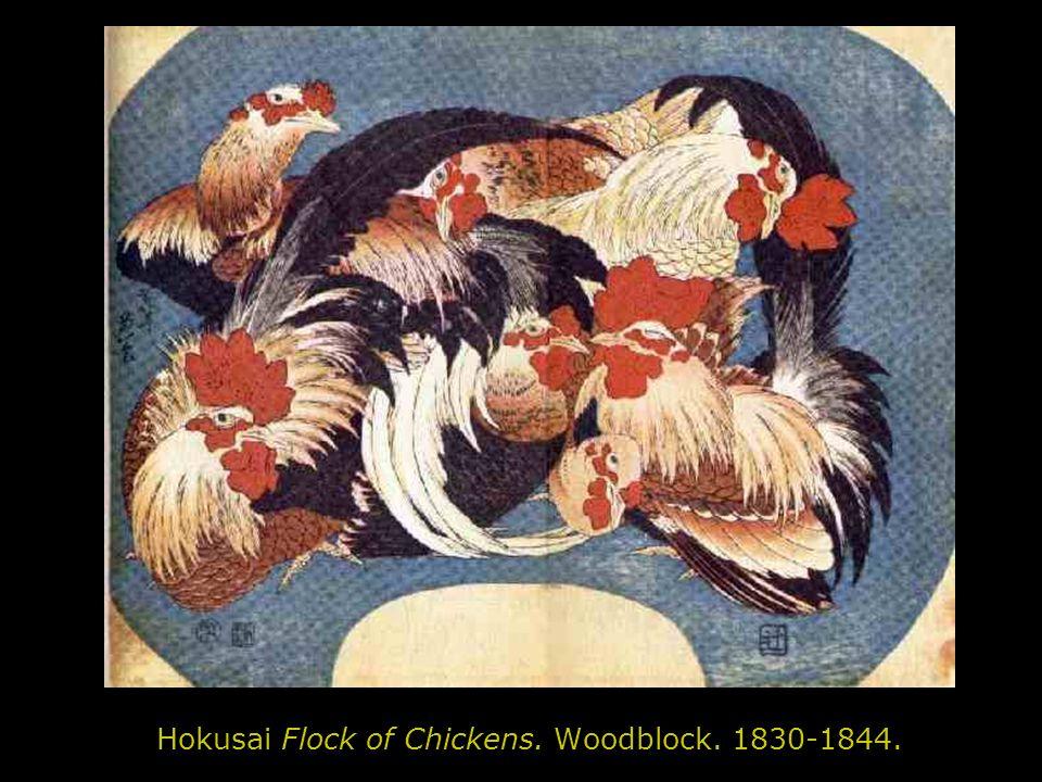 Hokusai Flock of Chickens. Woodblock. 1830-1844.