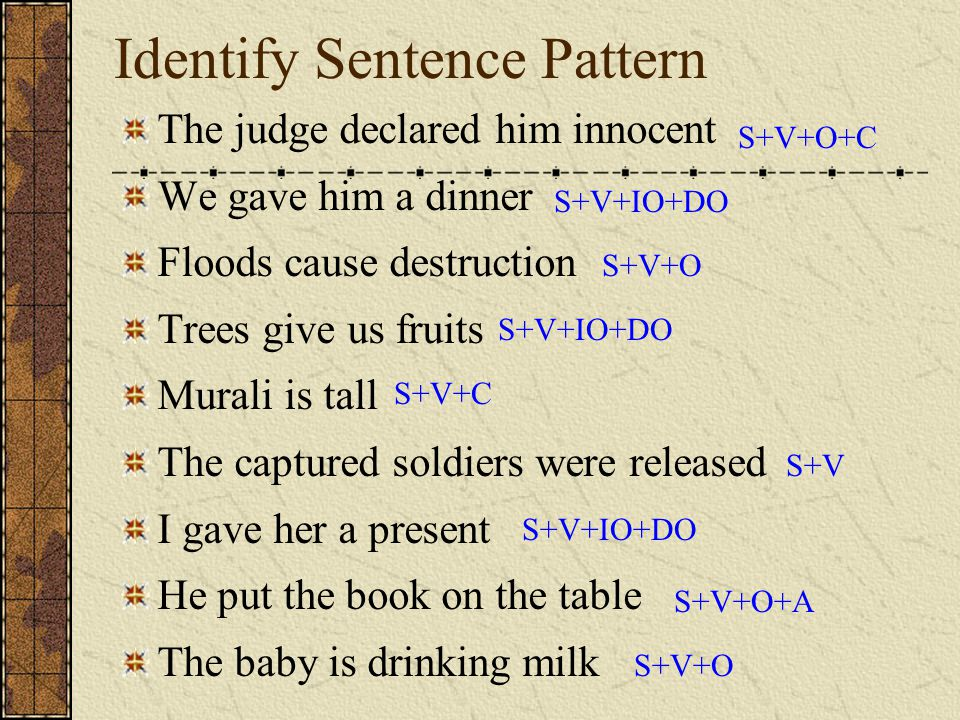 Identify Sentence Pattern The judge declared him innocent We gave him a dinner Floods cause destruction Trees give us fruits Murali is tall The captur