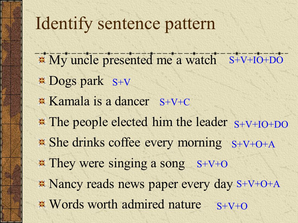 Identify sentence pattern My uncle presented me a watch Dogs park Kamala is a dancer The people elected him the leader She drinks coffee every morning
