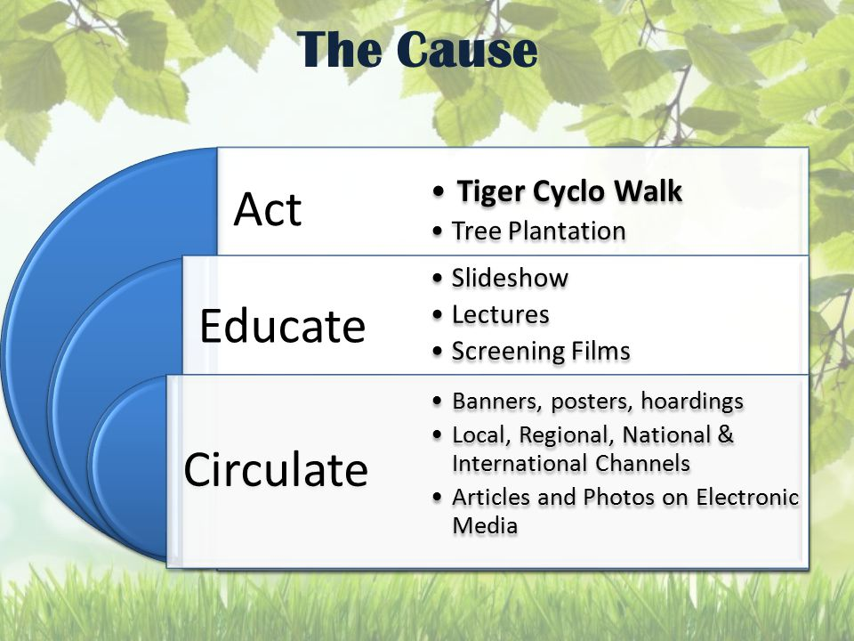 The Cause Act Educate Circulate Tiger Cyclo Walk Tree Plantation Slideshow Lectures Screening Films Banners, posters, hoardings Local, Regional, National & International Channels Articles and Photos on Electronic Media