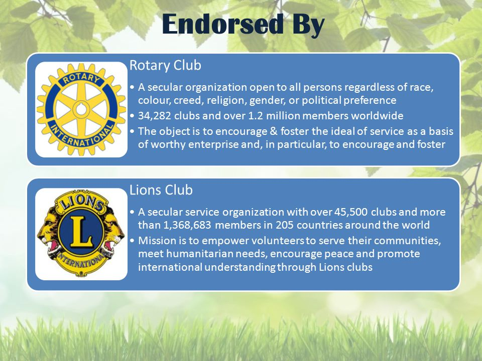 Endorsed By Rotary Club A secular organization open to all persons regardless of race, colour, creed, religion, gender, or political preference 34,282 clubs and over 1.2 million members worldwide The object is to encourage & foster the ideal of service as a basis of worthy enterprise and, in particular, to encourage and foster Lions Club A secular service organization with over 45,500 clubs and more than 1,368,683 members in 205 countries around the world Mission is to empower volunteers to serve their communities, meet humanitarian needs, encourage peace and promote international understanding through Lions clubs