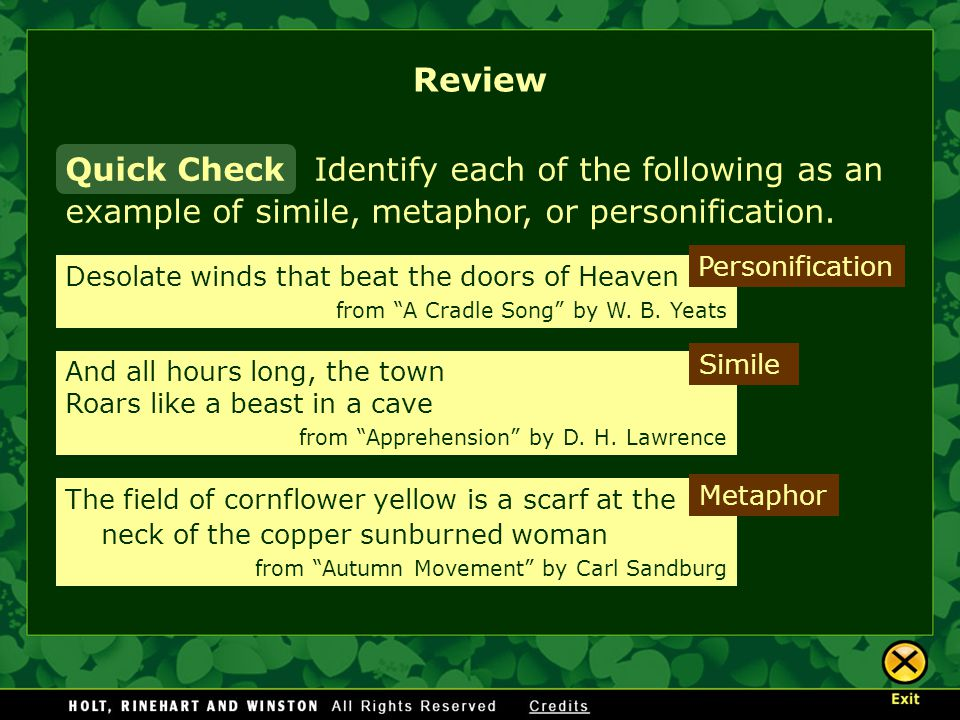 Identify each of the following as an example of simile, metaphor, or personification.