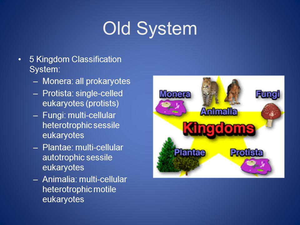 Old System 5 Kingdom Classification System: –Monera: all prokaryotes –Protista: single-celled eukaryotes (protists) –Fungi: multi-cellular heterotrophic sessile eukaryotes –Plantae: multi-cellular autotrophic sessile eukaryotes –Animalia: multi-cellular heterotrophic motile eukaryotes