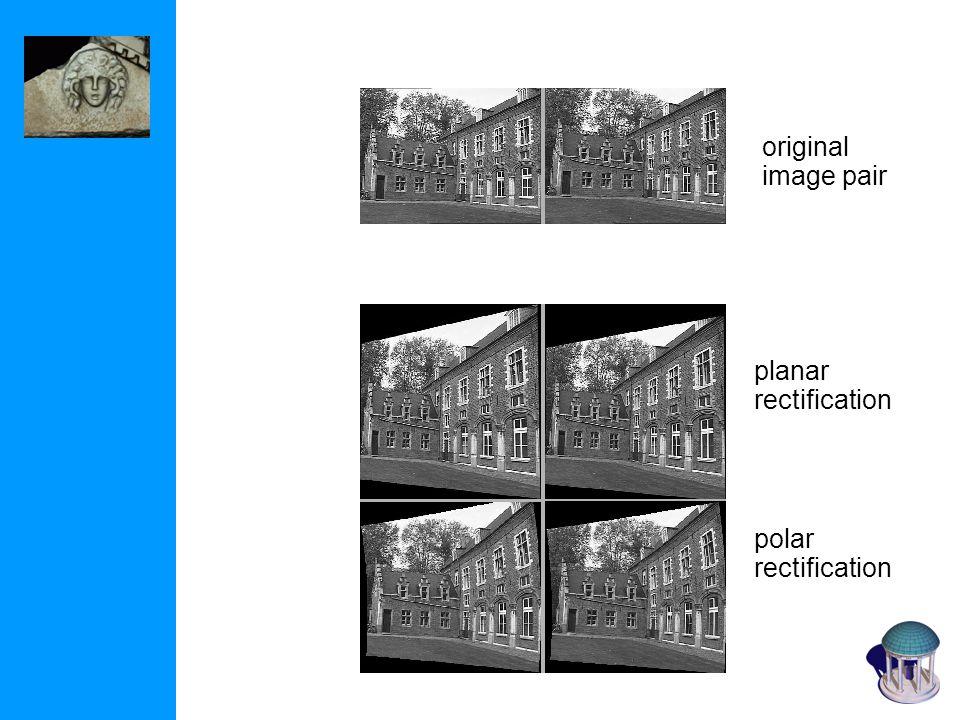 polar rectification planar rectification original image pair