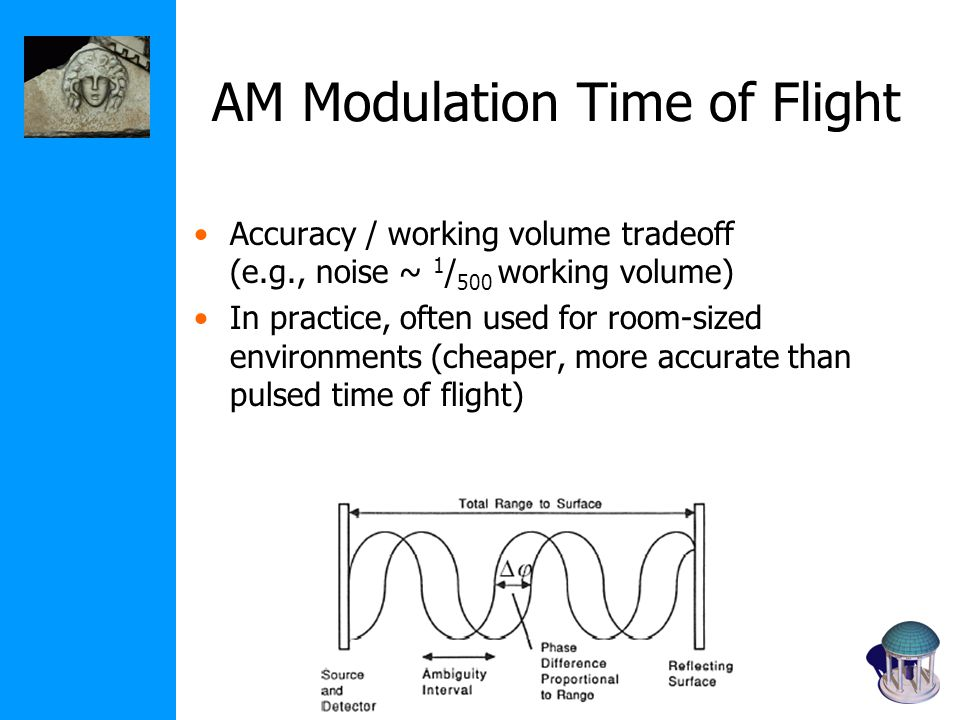 AM Modulation Time of Flight Accuracy / working volume tradeoff (e.g., noise ~ 1 / 500 working volume) In practice, often used for room-sized environments (cheaper, more accurate than pulsed time of flight)