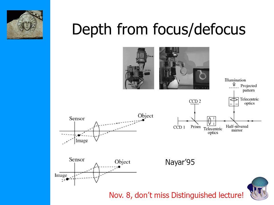 Depth from focus/defocus Nayar'95 Nov. 8, don't miss Distinguished lecture!